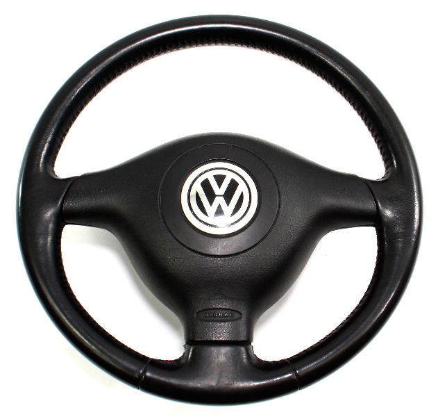 3 Spoke Sport Steering Wheel & Airbag VW Jetta GTI MK4 Black Leather - Genuine