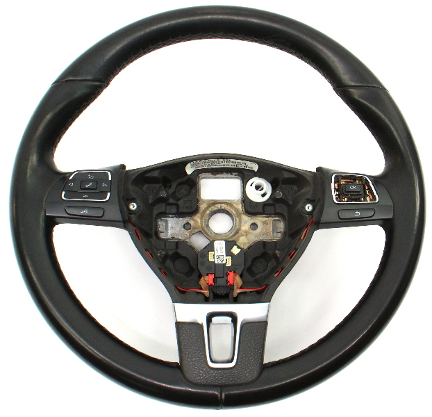 Leather Steering Wheel 10-14 VW Jetta Golf GTI MK6 Sportwagen - 5C0 419 091 B