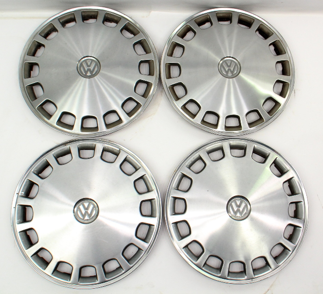 "Genuine VW Metal 13"" Hub Cap Wheel Covers Set VW Jetta Golf Rabbit Mk1 MK2"