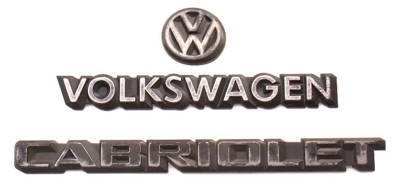 Trunk Emblem Set 85-93 VW Cabriolet MK1 Rear Badges ~ Genuine OE Volkswagen