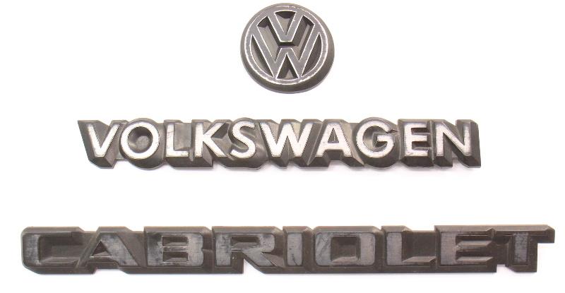 Trunk Emblem Set 85-93 VW Cabriolet MK1 Rear Badges ~ Genuine Volkswagen