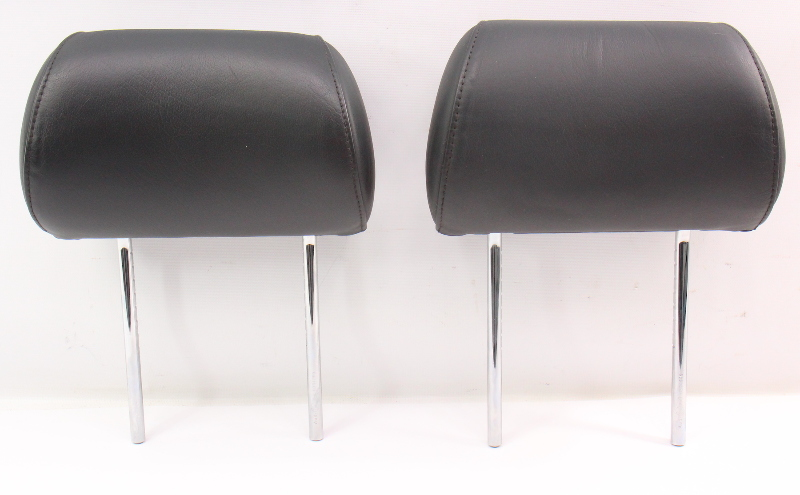 Rear Seat Head Rests Headrests 96-01 Audi A4 S4 B5 Black Leather - Genuine