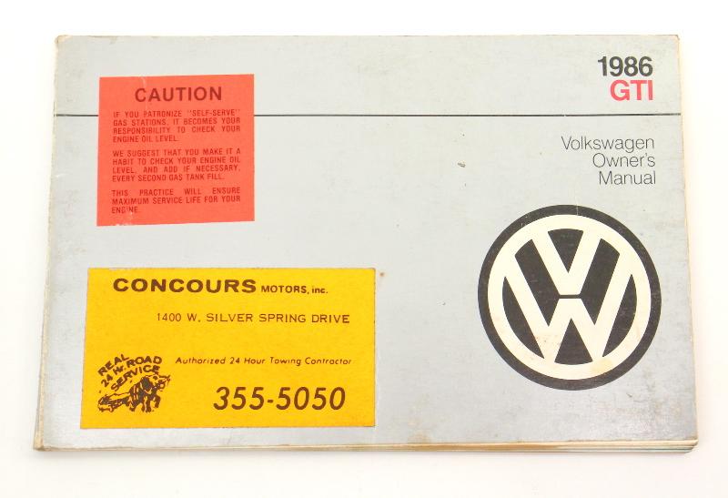 1986 Volkswagen VW GTI Owners Manual Book MK2 - Genuine