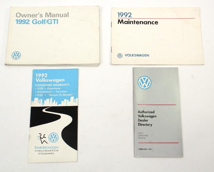 1992 Volkswagen VW Golf GTI Owners Manual Book MK2 - Genuine