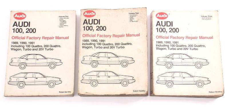 3 Vol Official Factory Repair Manual Book 89-91 Audi 100 200 20v - LPV 800 701