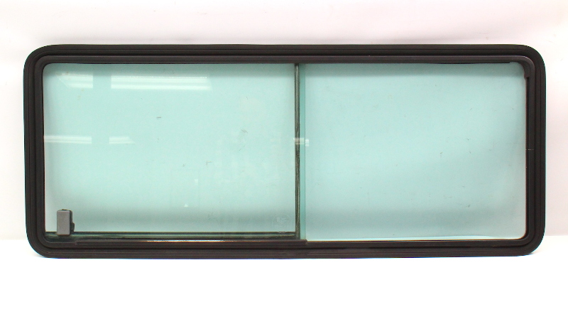 LH Rear Side Sliding Window Glass 80-91 VW Vanagon T3  Black Frame w/ Seal