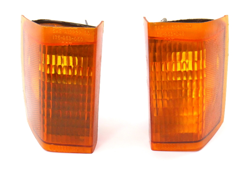 Turn Signal Corner Light Lamp Set 81-84 VW Rabbit MK1 Genuine 175 953 050 / 049