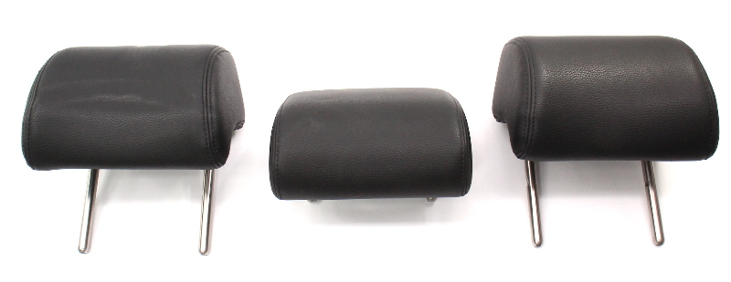 Rear Back Seat Head Rest Headrest Set 06-10 VW Passat B6 ~ Black Vinyl Pleather