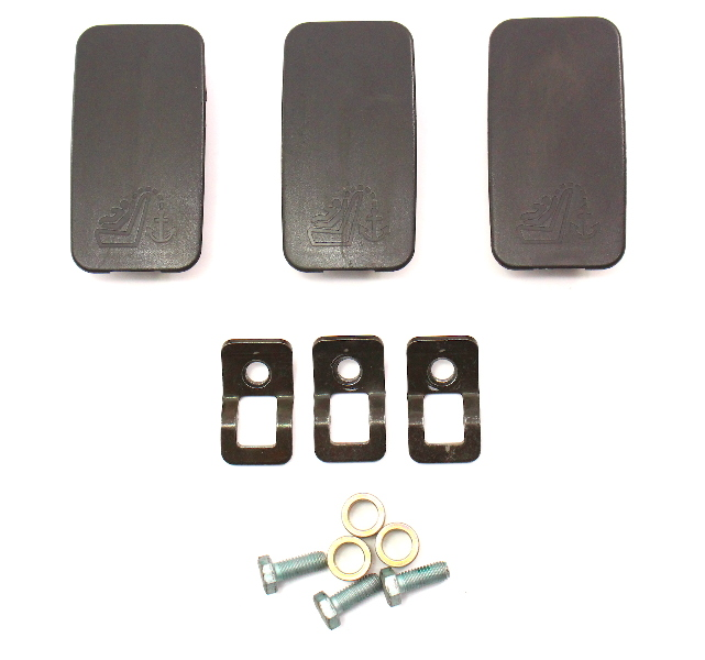 Child Seat Restraint Hooks Mounts Caps Audi A4 02-05 B6 - Black - 4B0 887 301
