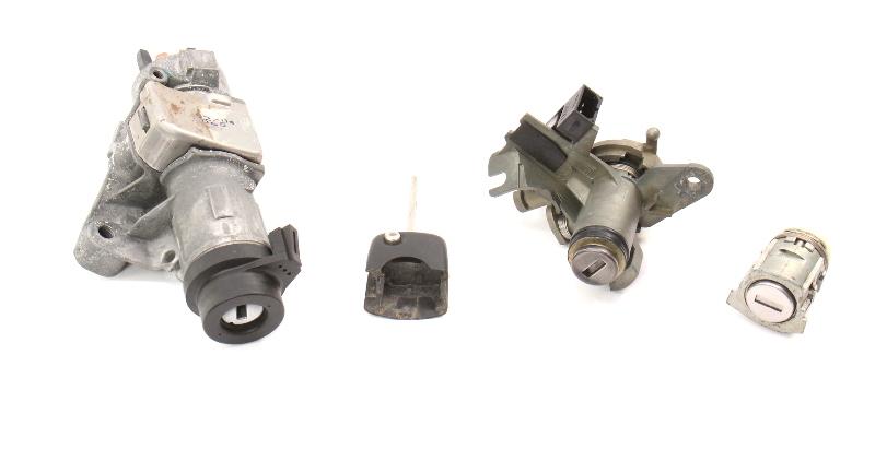 Ignition Door Trunk Lock Key Set 02-05 Audi A4 S4 B6 - Genuine - 4B0 905 851 G