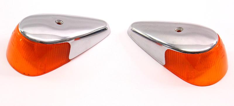 Fender Turn Signal Light Lens Set 68-69 VW Beetle Bug Aircooled  - Genuine Hella