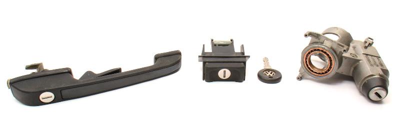 Lock Set Ignition Door Handle Key 85-92 VW Golf GTI MK2 - Genuine - 357 905 851