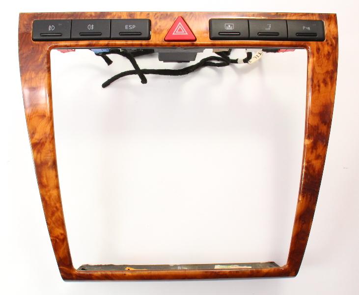 Wood Grain Radio Surround Dash Trim & Switches 00-03 Audi A8 S8 D2 - 4D0 820 325