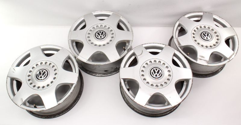 """Set Stock 16"""" Alloy Wheels Rims 98-05 VW Beetle 5x100 Jetta Mk4 ~ 1C0 601 025 A"""