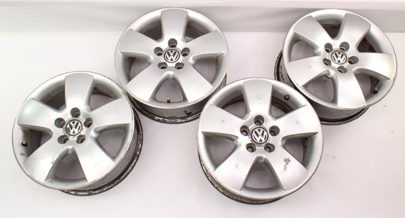 """15"""" Alloy Wheel Rim Set 99-05 VW Jetta Golf GTI MK4 Beetle 5x100 - 1C0 601 025 F"""