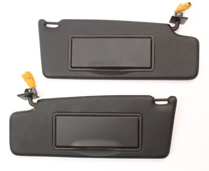 Black Sunvisor Sun Visors Set 95-02 VW Cabrio MK3 MK3.5 Jetta Golf GTI - Genuine