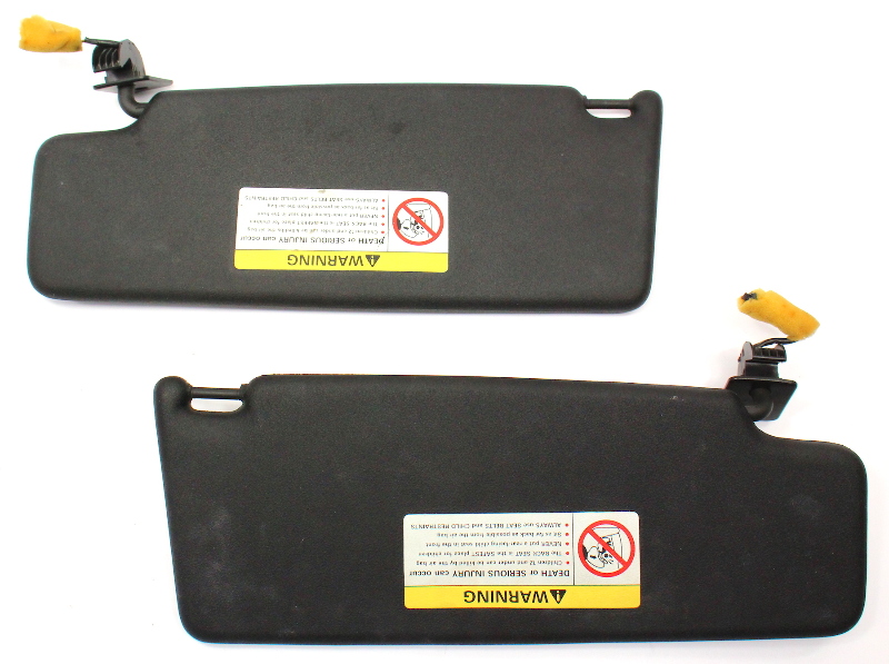 Black Sunvisors Sun Visors Set 95-02 VW Cabrio MK3 Jetta Golf GTI . Genuine .