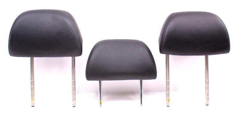 Rear Headrest Head Rest Set 01-05 VW Passat B5.5 - Black Leather - Genuine