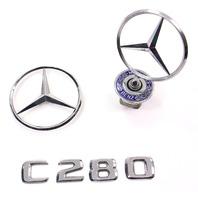 Hood Ornament Star Emblem Set 1997 Mercedes C280 W202 - Genuine