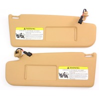 Sun Visor Set 05-10 VW Jetta Rabbit GTI MK5 Sportwagen Corn Silk Beige - Genuine