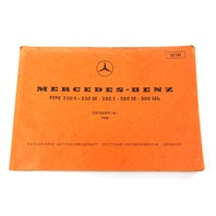 1968 Mercedes 250 S 250 SE 280 S 280 SE 300 SEb Parts Catalog Manual Book 12141