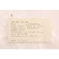 NOS Parking EBrake Cable Set 90-94 VW Passat B3 - 357 609 721 A