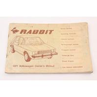 1981 Volkswagen VW Rabbit MK1 Owners Manual Book