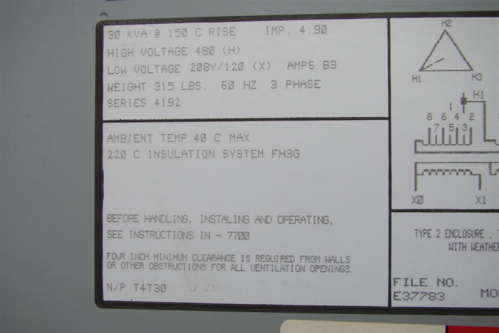 Siemens 30kva Dry Type Transformer Prim 480v Sec 208y 120v Wiring Diagram 3 Phase Panel 120 3f3y030st