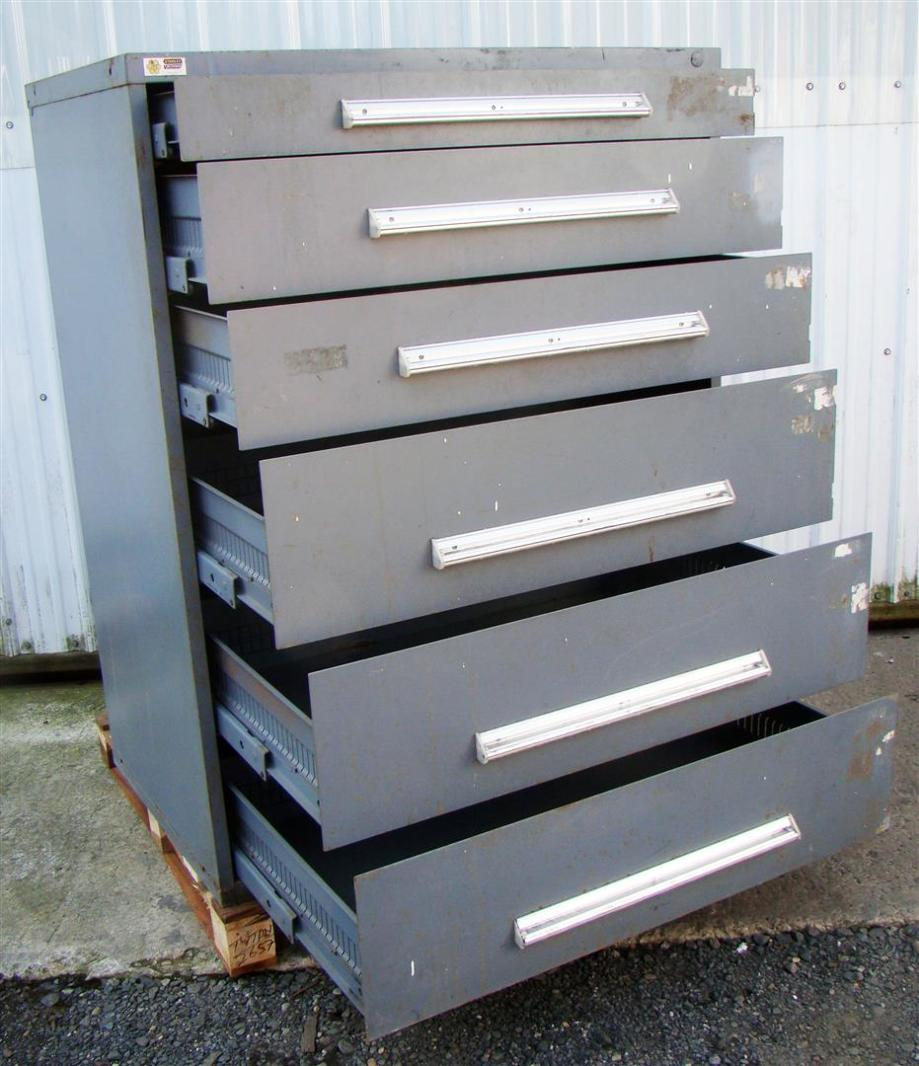 Stanley Vidmar 6 Drawer Tool Storage Cabinet Grey 45x27 1 2x57