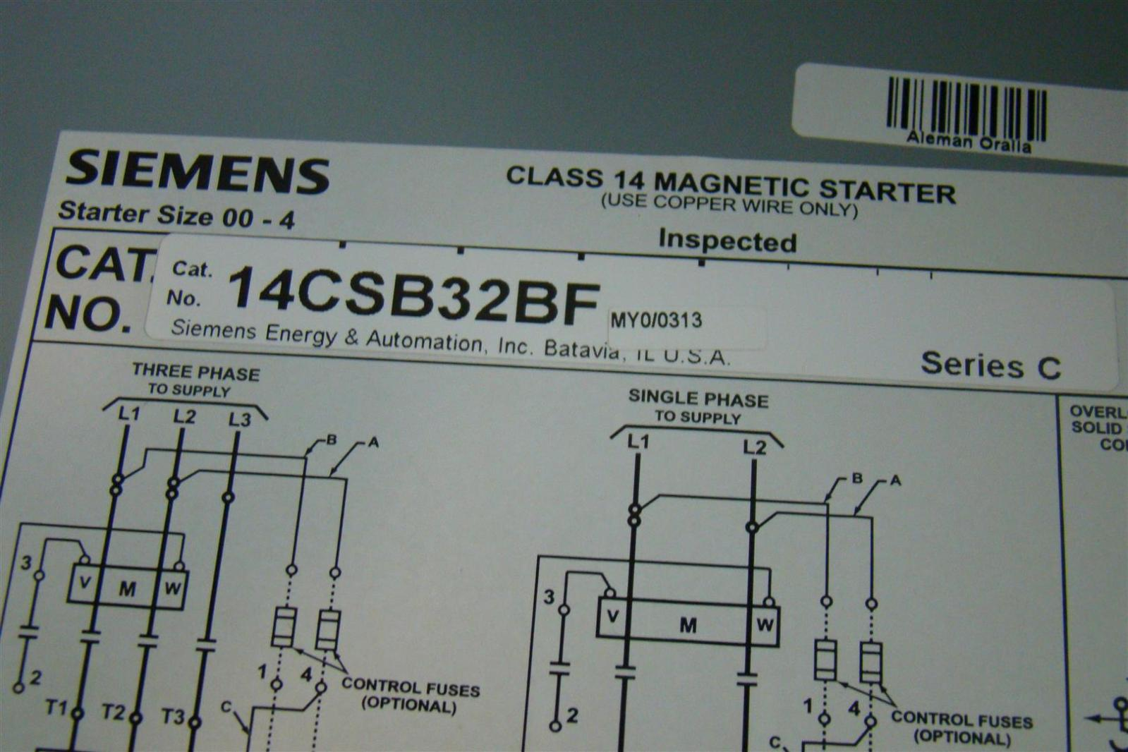 Siemens Washing Machine Wiring Diagram Electrical Switch Guide Motor Diagrams Age164 Heavy Duty Starter Class 14 Magnetic 3ph 200