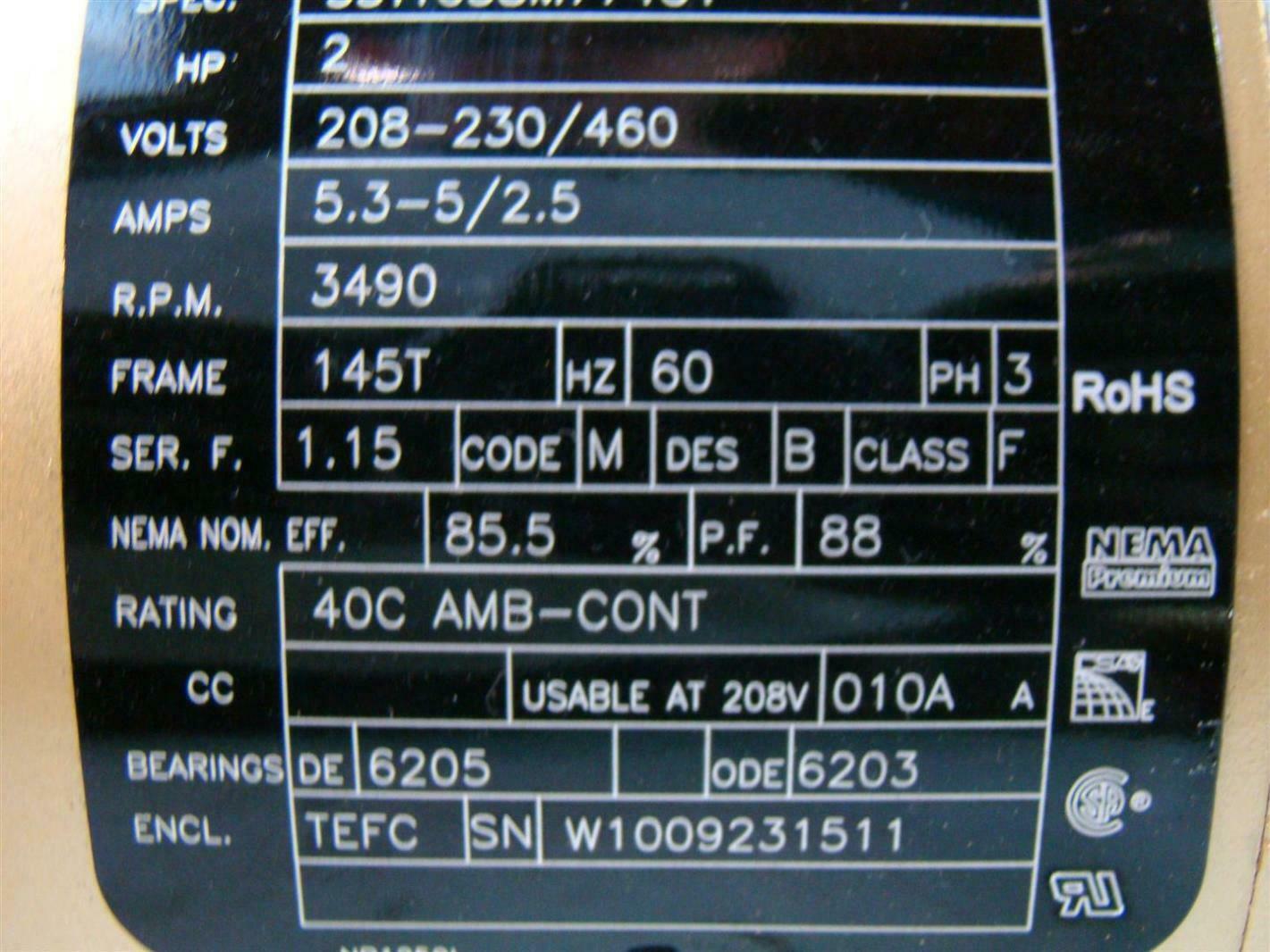 Baldor Reliance Super E Motor 2hp 208 230 460v 5 3 2 5amps