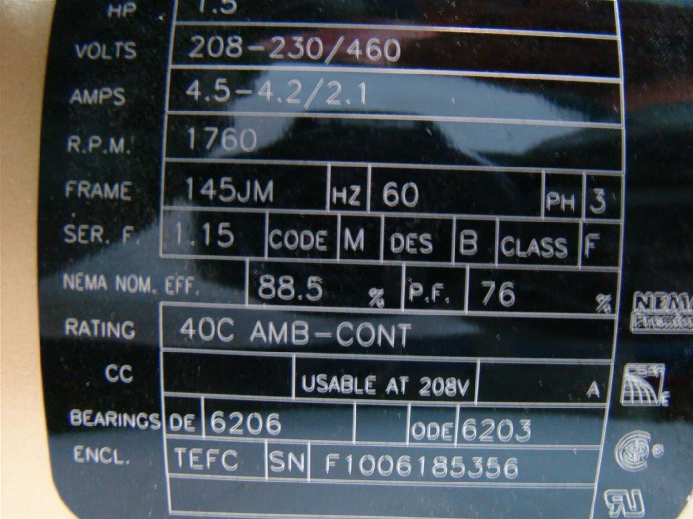 Baldor Reliance Super E Motor 1 5hp 208 230 460v 4 5 2 1amps