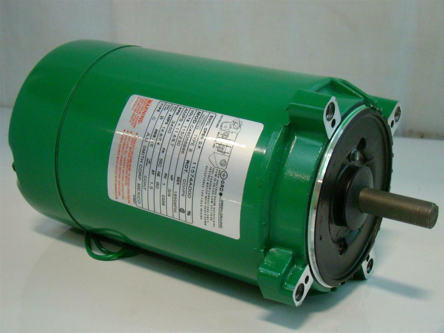AO Smith 3/4HP Electric Motor 115/230V 3450 Rpm 11574A000 C48D55B86 Single Phase