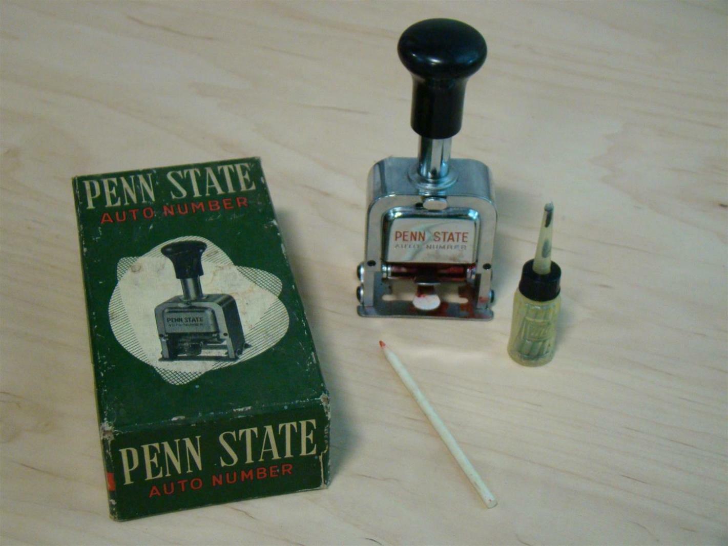 Penn State Auto Number stamp 607