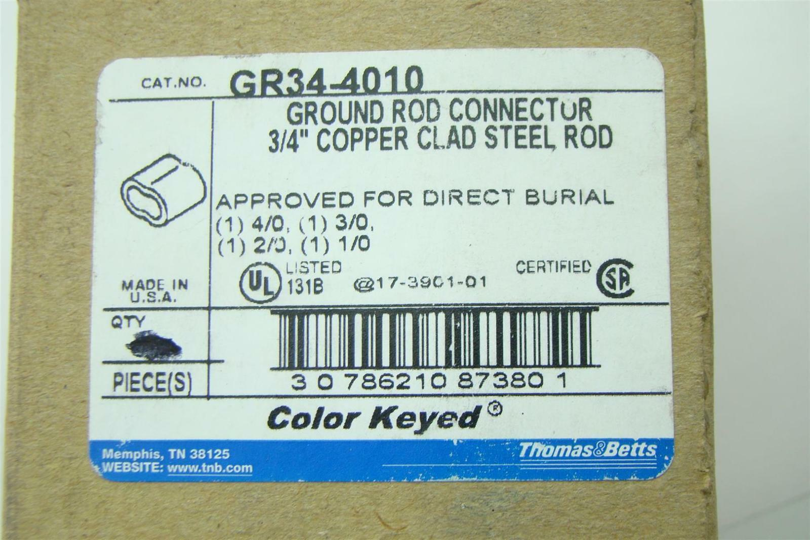 TBGR344010 Thomas /& Betts GR34-4010 Ground Rod Connector Pack of 5