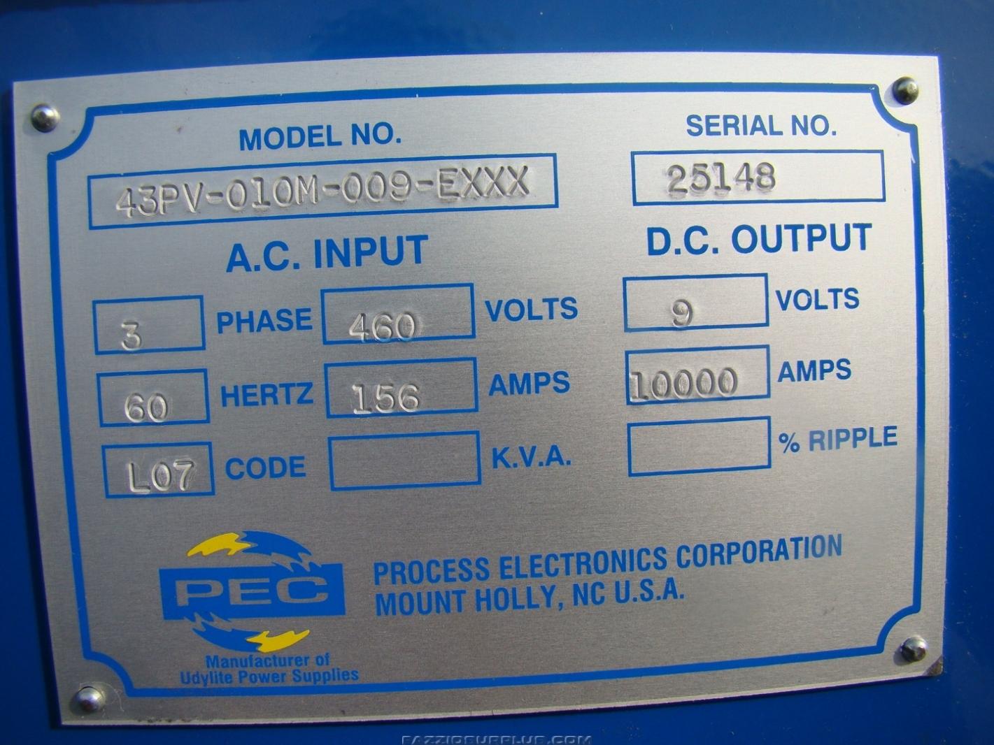 PEC, SASSC 10,000AMP 9V DC Rectifier, 00FL-010M-009-EXXX   Joseph ...