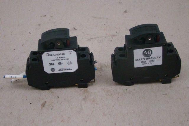 (2) Allen Bradley 1 Amp Double Pole Circuit Breaker 250VAC, 65VDC, 1492-GHD010
