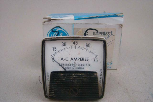 "General Electric 2.5"" AC Amps Panel Meter, 0-75 , L55"