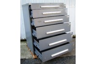 "Stanley Vidmar 6 Drawer Tool Storage Cabinet Grey 45x27-1/2x57"" w/ Lock Latches"