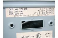 GE Tumbler Switch 240v/30A, 600v/20A, 3PH, RB, TC2368