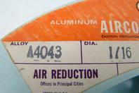 "Airco Aircomatic Welding Wire Alloy: A4043, Dia: 1/16"", 254042A, 4324"