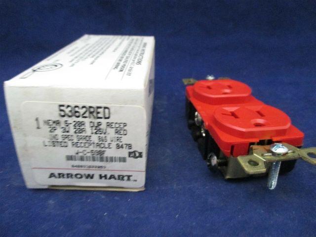 Arrow Hart 5362RED NEMA 5-20R DUP RECEP Lot of 2 new