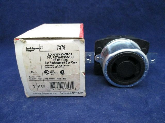 Pass & Seymour Locking Receptacle 7379 3P 4W Grdg 50 amp new