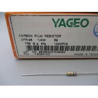 Yageo CFR-25 1/4W 7.5QBK-ND qty 200 new