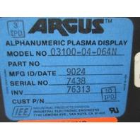 Argus Alphanumeric Plasma Display 03100-04-064N New