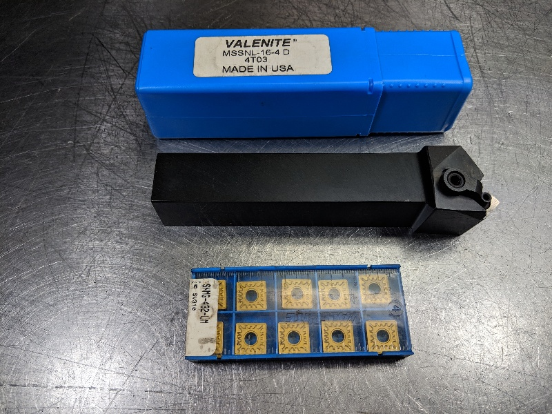 Valenite Lathe Tool Holder MSSNL 16 4D w/ Qty10 SNMG 432 Inserts (LOC2627)