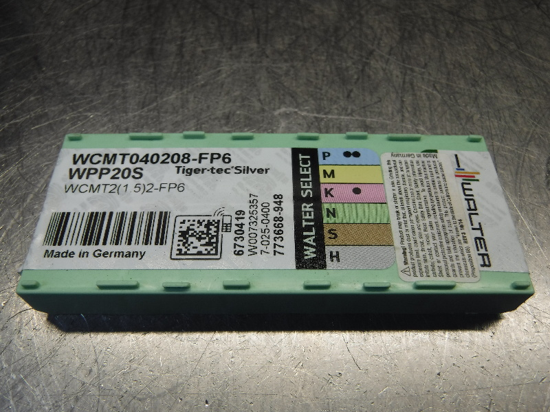 Walter Carbide Inserts QTY10 WCMT040208-FP6 WPP20S (LOC296)