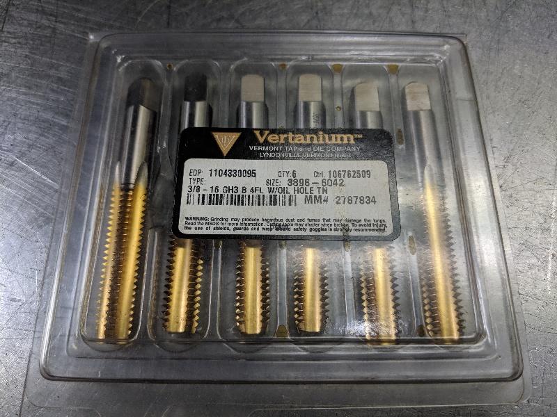 Vertanium HSS 4 Flute 3/8 - 16 GH3 B Taps Qty6 1104330095 (LOC2846A)