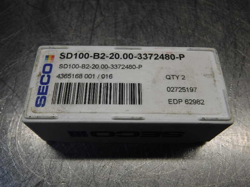 Seco Carbide Tip Drill Inserts QTY2 SD100-B2-20.00-3372480-P (LOC968B)