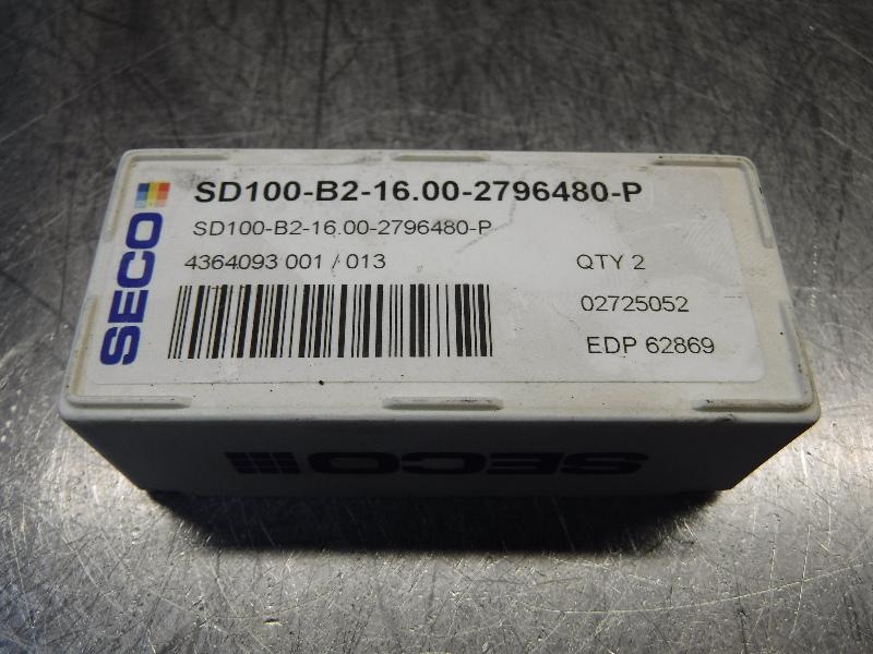 Seco Carbide Tip Drill Inserts QTY2 SD100-B2-16.00-2796480-P (LOC968B)
